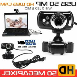 Full HD USB 50 MP 3 LED Video Camera Webcam with Microphone
