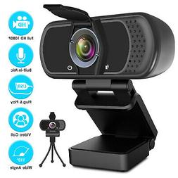 HD Webcam 1080P w/Mic+Privacy Shutter+Tripod Stand For Lapto