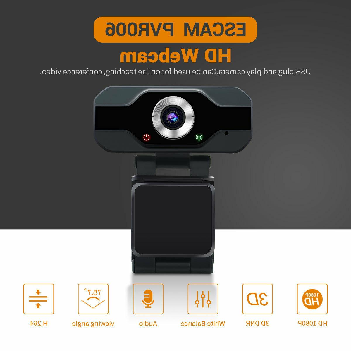 1080 USB PC Desktop Camera with Microphone