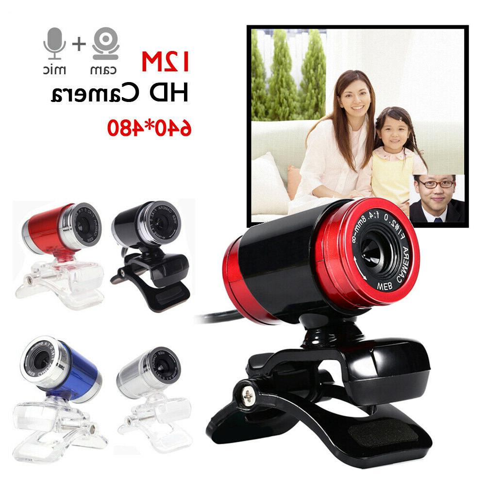 1080P HD USB 12MP Camera Web Cam Mic 360° Clip-on 30fps for