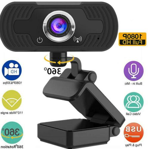 360° HD 1080P Webcam Microphone USB Camera For PC Laptop Mo