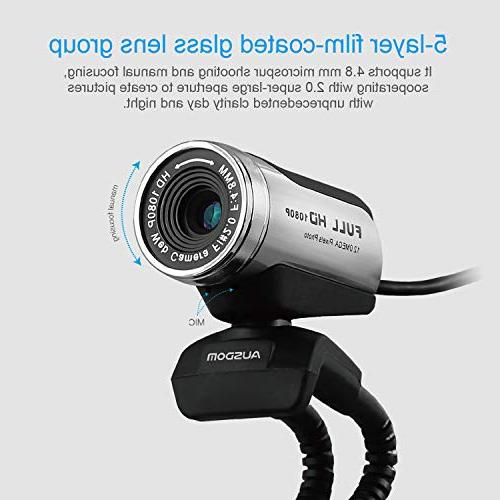 Ausdom Webcam, with Microphone, Laptop Support Facetime Compatible Mac OS Windows 10/8/7