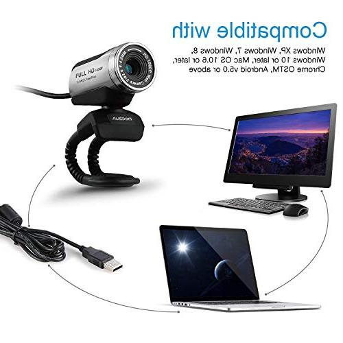 Ausdom Full HD Webcam, Microphone, Support Compatible Windows 10/8/7