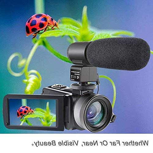 Camcorder,Besteker IR Vision HD Digital Camera External Microphone Angle Lens