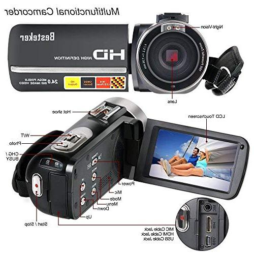 Camcorder,Besteker Video Camera IR Night HD External Microphone