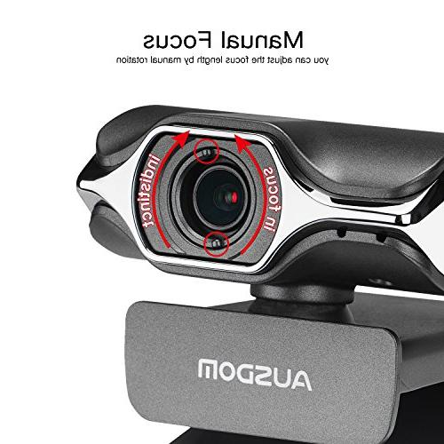 AUSDOM USB Webcam, AW620 High Definition Widescreen Network and Play Desktop/Laptop HD with Cancelling Windows/Mac OS OBS Live
