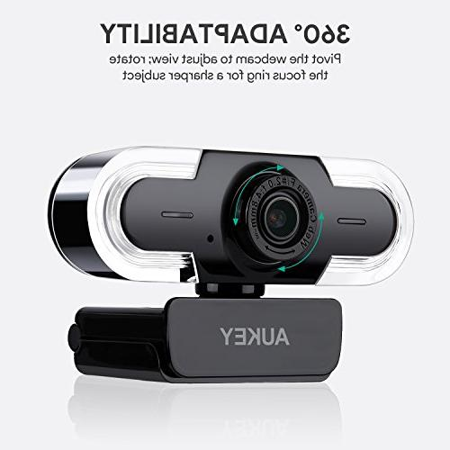 AUKEY Webcam 2K with Manual Live Streaming Webcam Widescreen Video Calling with Windows, Mac and Android