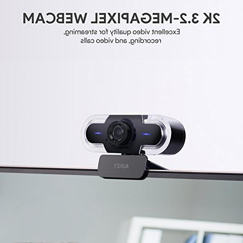 AUKEY Webcam with Adjustment, Manual and Webcam Calling Compatible with and