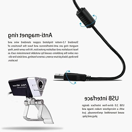 Webcam PAPALOOK HD Web Microphone,USB Skype Online Cam for Recording and Streaming,Compatible