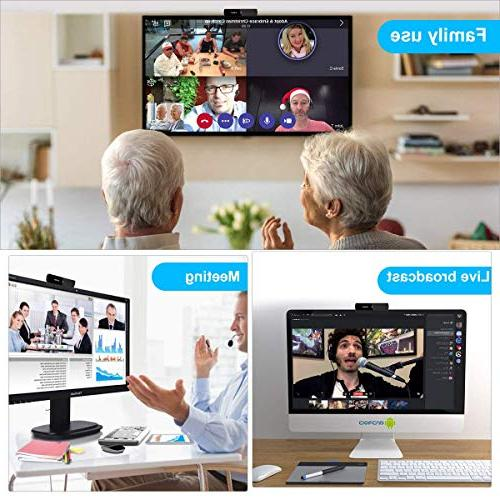 Full Widescreen Mic for and Recording,USB Plug Play PC Computer Laptop/Desktop,Skype Webcams Compatible with Windows 7/8/10 Mac
