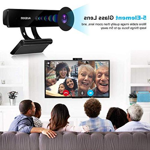 Full HD Webcam 1080P,Ausdom Widescreen Camera Built-in Mic for Video and Plug Play PC Mac