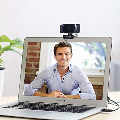 PAPALOOK HD 1080P Webcam AF925 with Fold-and-Go 360-Degree Swivel, Noise Computer Laptop Black
