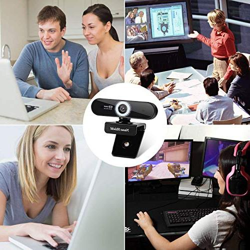 Auto Focus Webcam Nano Shield Camera Noise Cancelling Microphone, Skype Cam Full HD PC Computer, Play for 10/8 / 7 Mac OS