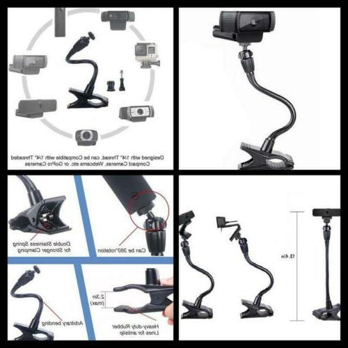 Webcam Clip Mount Holder Flexible Jaws PC Camera Stand Clamp