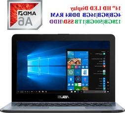 """New Asus 14"""" HD Laptop, AMD Dual Core A6-9225 2.6GHz,HDMI,Bl"""