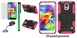 Samsung Galaxy S5 Holster Case - Heavy Duty Dual Shield Hybr