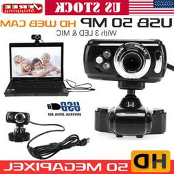 US USB 50 Megapixel HD Camera Web Cam 360° With Mic Clip-on