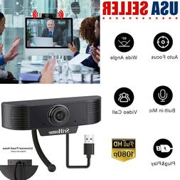 Webcam USB Web Camera 1080P Cam W/ Microphone For PC Laptop
