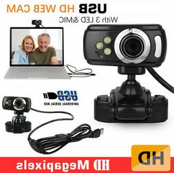 HD USB 3 LED Webcam Video Camera with MIC Clip-on for Comput