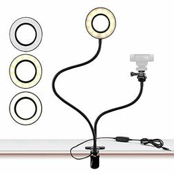 Webcam Light Stand for Live Stream, Selfie Ring Light with W