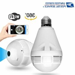 Wireless Fisheye Bulb Cam Security IP Camera IR Night Home W